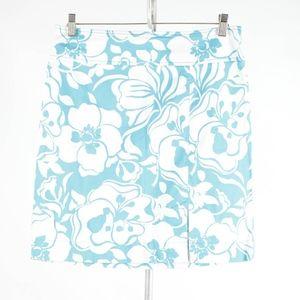 ANN TAYLOR – Light Blue Floral Cotton Skirt – 8